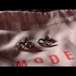 Silver infinity sign earrings